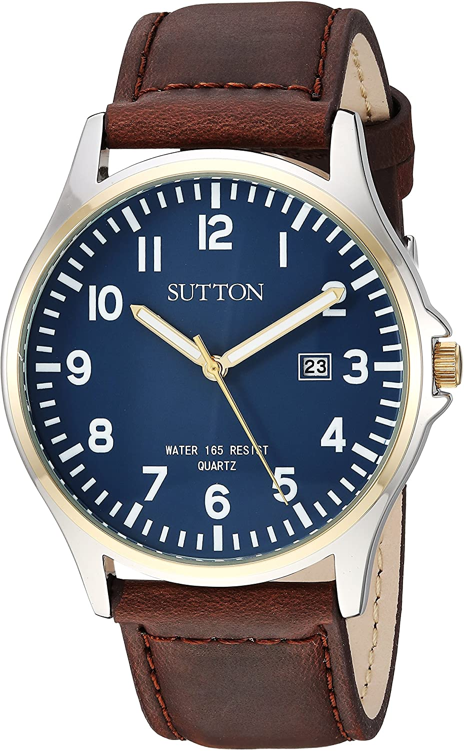 Sutton by Armitron Men s SU 5015NVBN Date Function Easy to Read Brown Leather Strap Watch