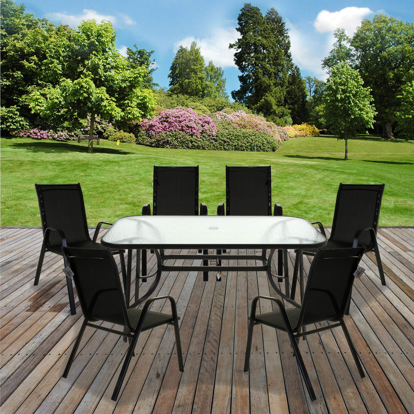 Marko Outdoor Garden Furniture Set Patio Outdoor Rectangular Glass Table  4/6 Chairs Parasol (6 Chairs + Table)- Buy Online in Pakistan at  desertcart.pk. ProductId : 171510316.