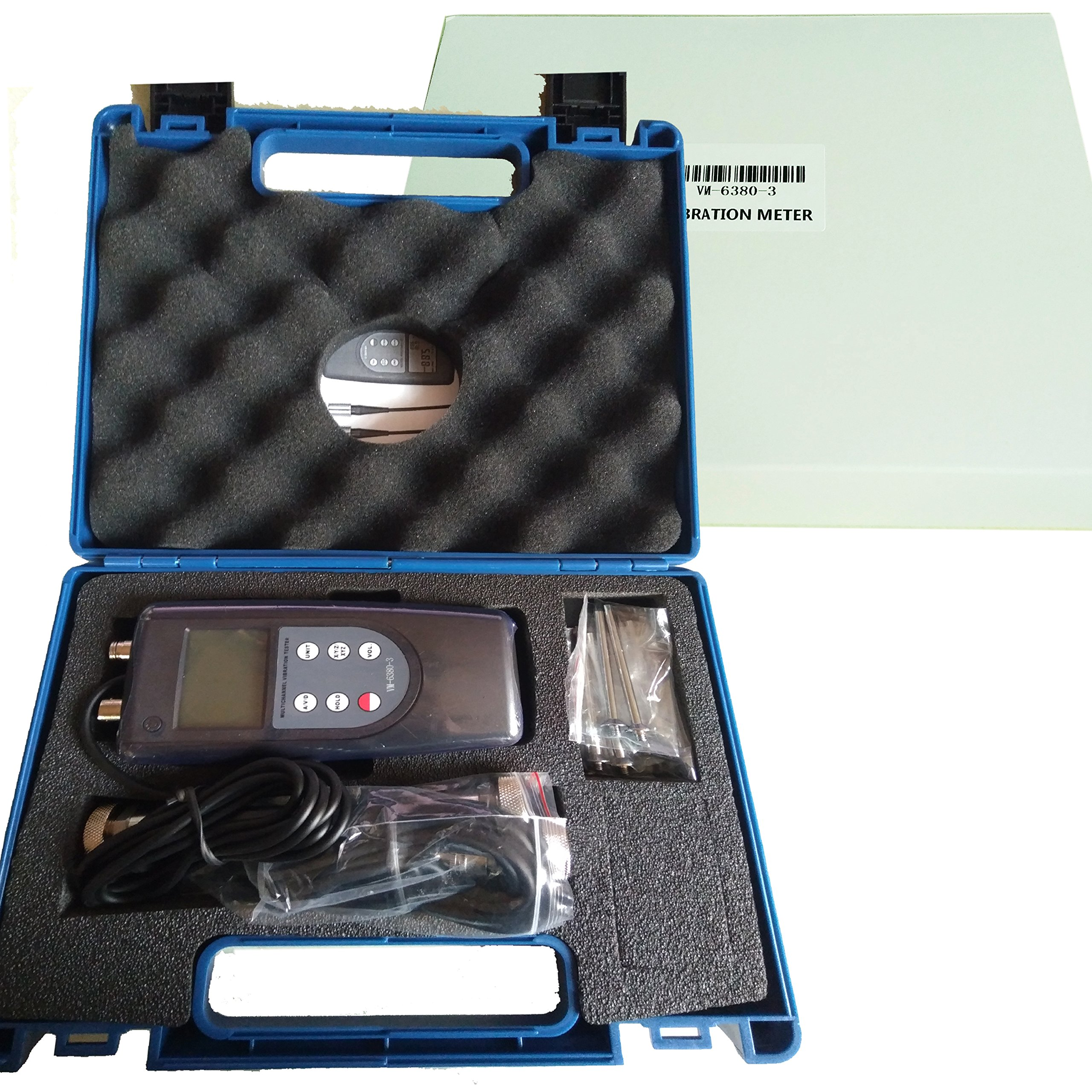 VM-6380-3 Digital Vibration Meter/Data Logger Three Channel Vibration Meter 3 Channel Piezoelectric Tranducer Vibration Meter Tester with Vibrometer Gauge Vibrating Gauge, Black
