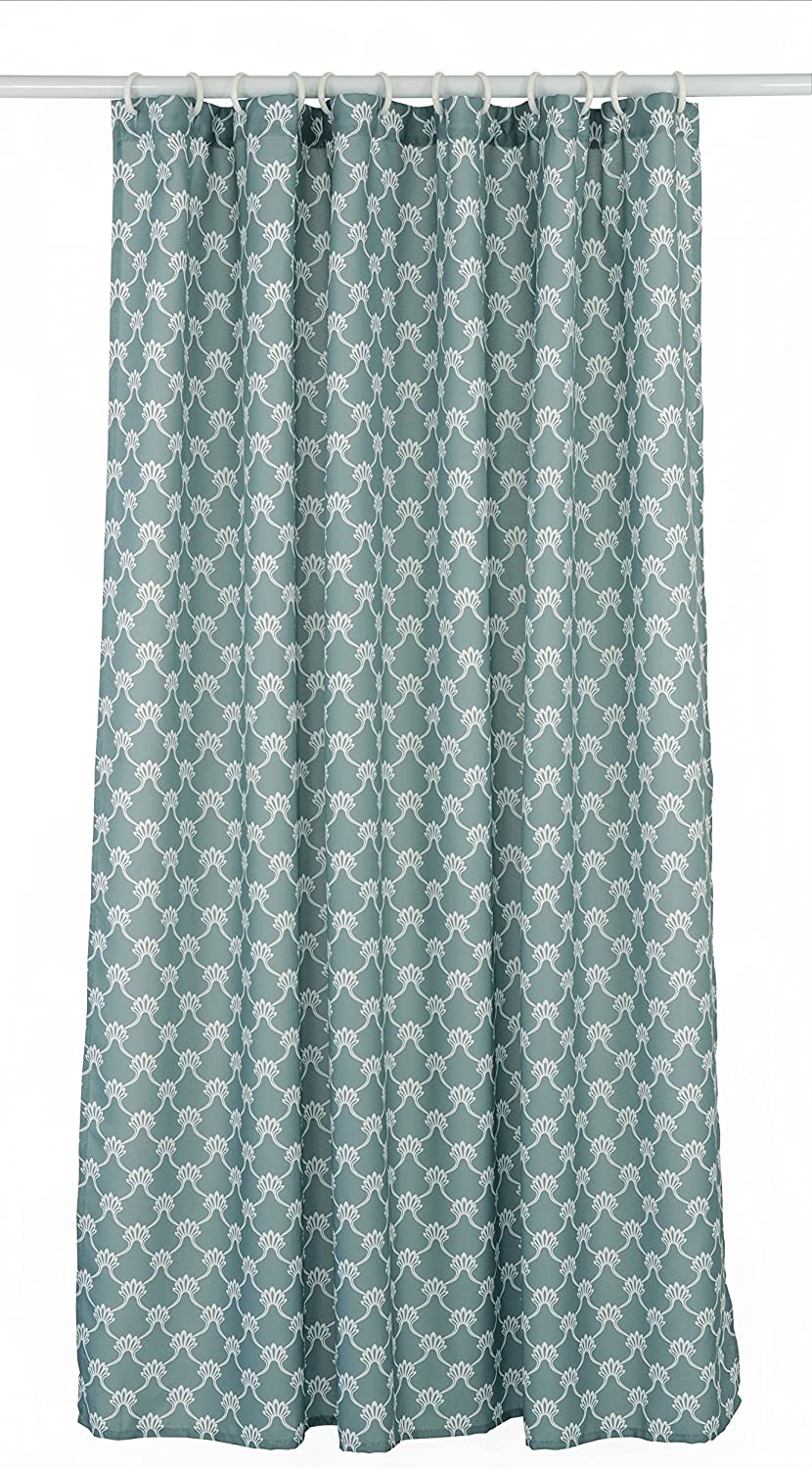 LJ Home Fashions 288 Manhattan Geometric Trellis Designed Shower Curtain Liner and Ring Set (14 Pieces) Grey/White