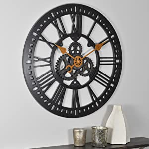 "FirsTime & Co. Roman Gear Wall Clock, Oil Rubbed Bronze, 24"" (00182)"
