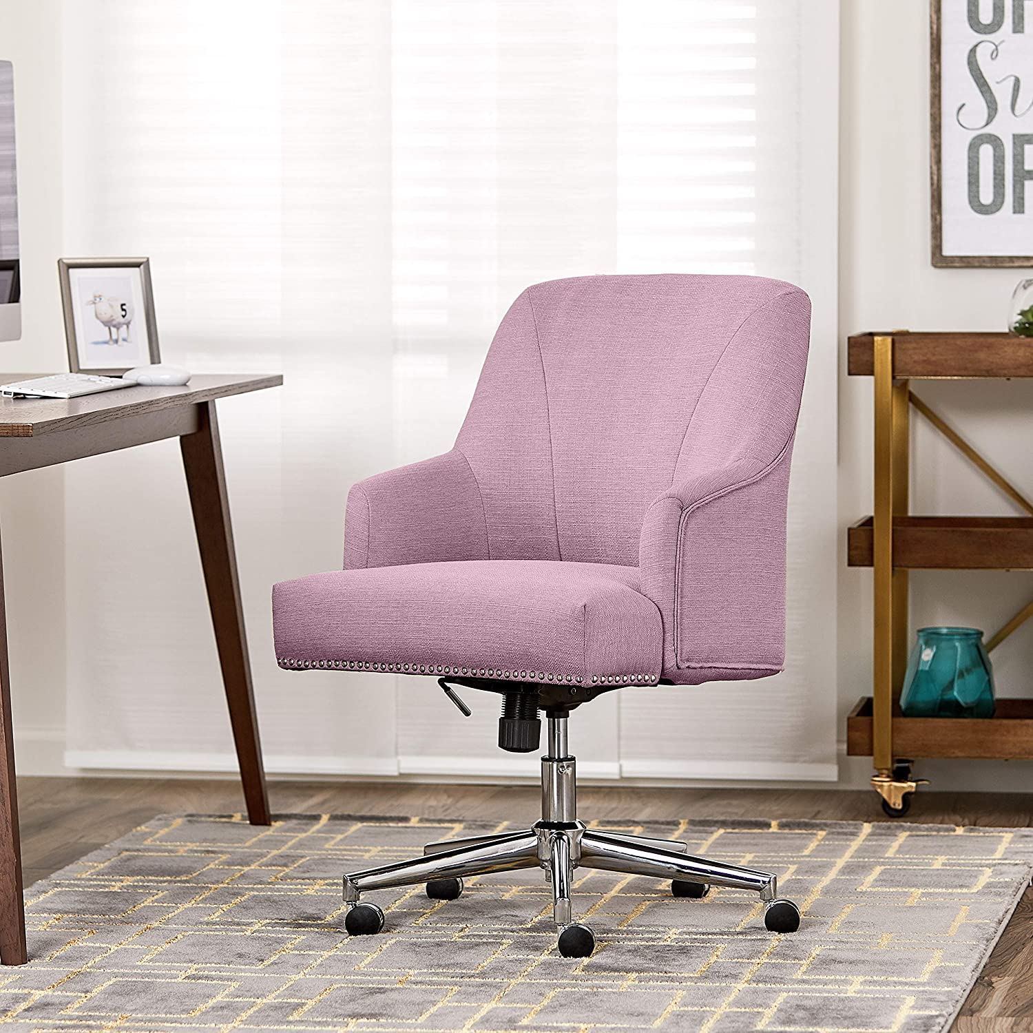 Serta Style Leighton Home Office Chair, Twill Fabric, Lilac