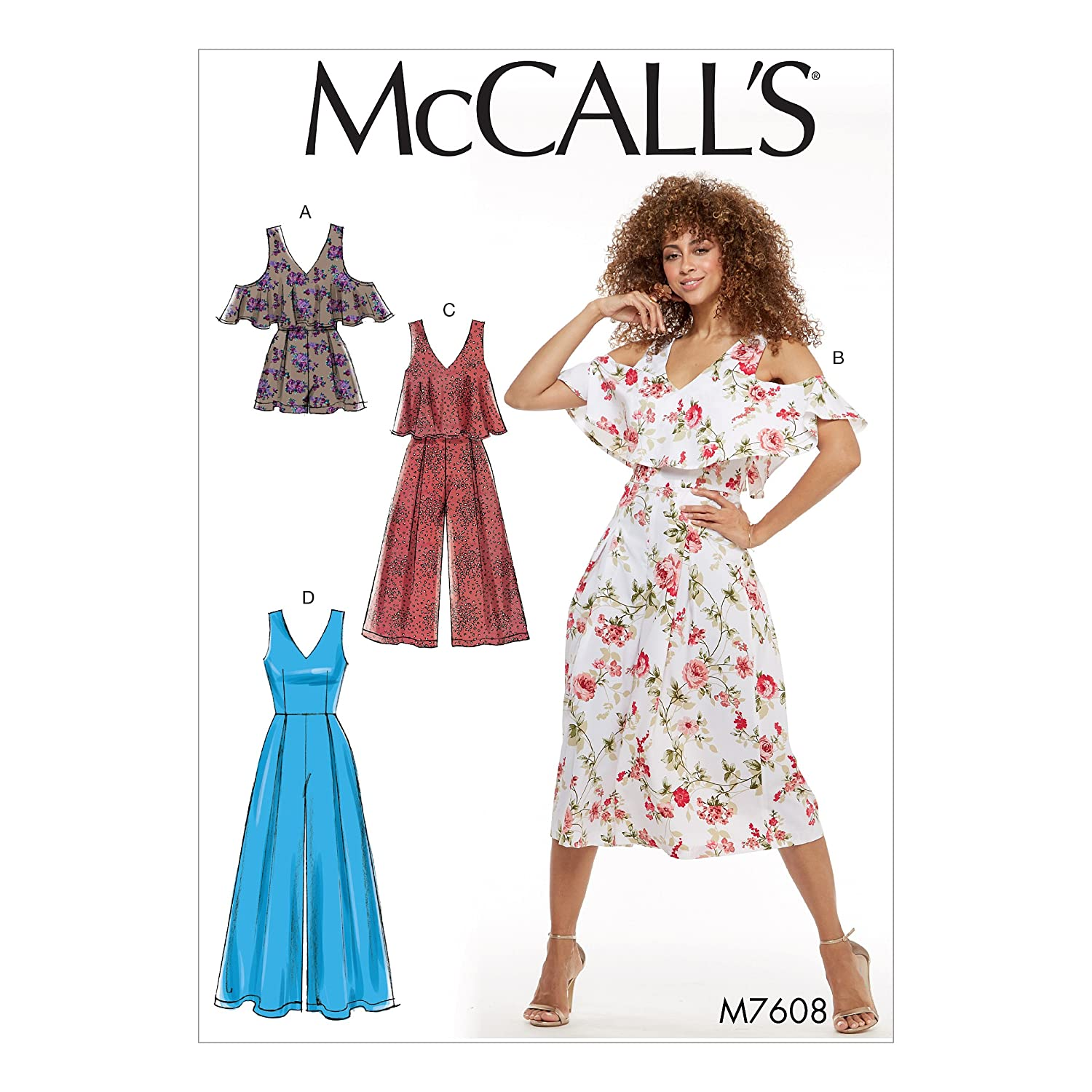 76805ab84fa Amazon.com  MCCALLS M7608 Misses  V-Neck Lined Sleeveless Romper and  Jumpsuits (SIZE 6-14) SEWING PATTERN  Arts