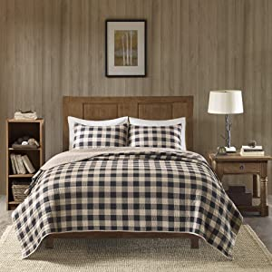 Woolrich Buffalo Check King/Cal King Size Quilt Bedding Set - Tan, Checker Plaid – 3 Piece Bedding Quilt Coverlets – 100% Cotton Bed Quilts Quilted Coverlet