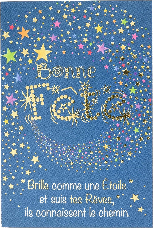 Carte Bonne F/ête Brille comme une /étoile Suis tes r/êves ils connaissent le chemin Or Dor/é Fabriqu/é en France