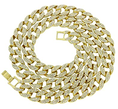 9882490c700ad Miami Cuban Link Iced Out 14k Gold Plated 16