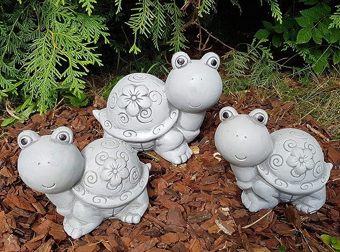 3 Set Niedliche Schildkröten Mit Blumenkleid Steinfigur Frostfest Deko  Garten Balkon