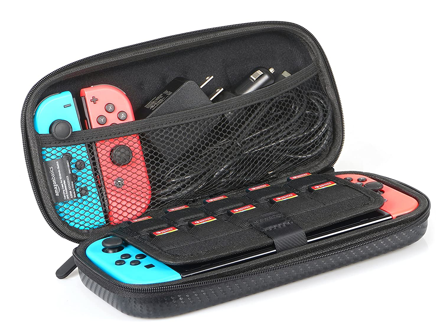 Basics Carrying Case for Nintendo Switch and Accessories - 10 x 2 x 5 Inches, Black: Video Games