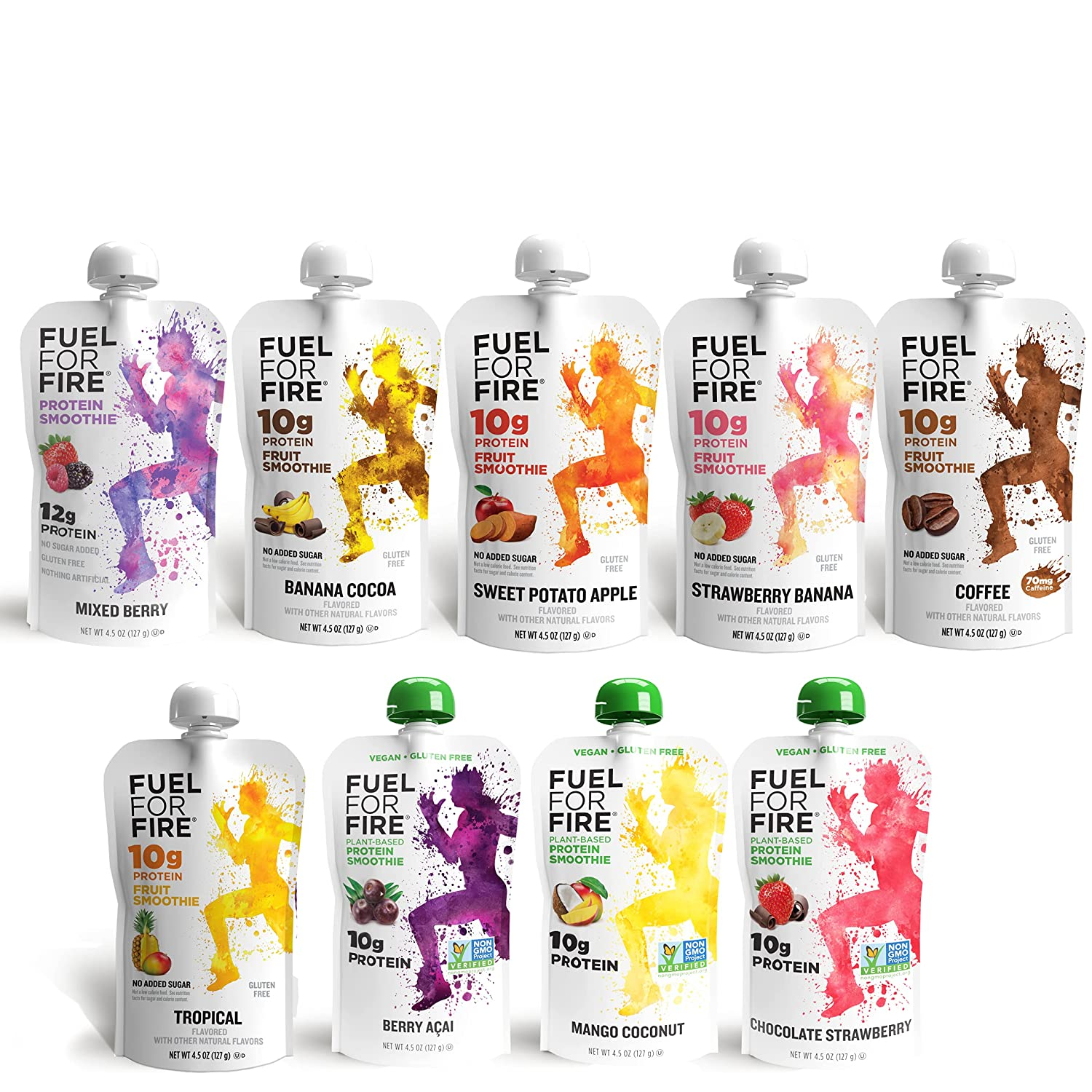 Fuel For Fire - Whey & Vegan Protein Smoothie Pouches Variety 9-Pack   Ready-to-Drink Fruit & Protein Squeeze Pouch   Gluten Free, Soy Free, Kosher, No Added Sugar (4.5 ounce pouches)