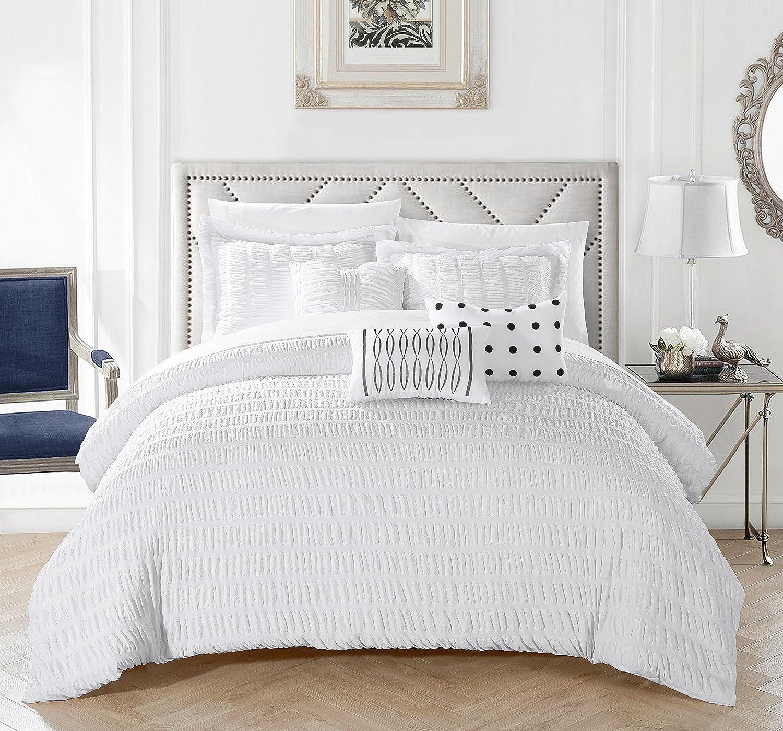 シックホームKiara 6 Piece Comforter Setストライプシャーリングフリル付き寝具 – 装飾枕Shams含ま ツイン B079NTK5LTホワイト ツイン