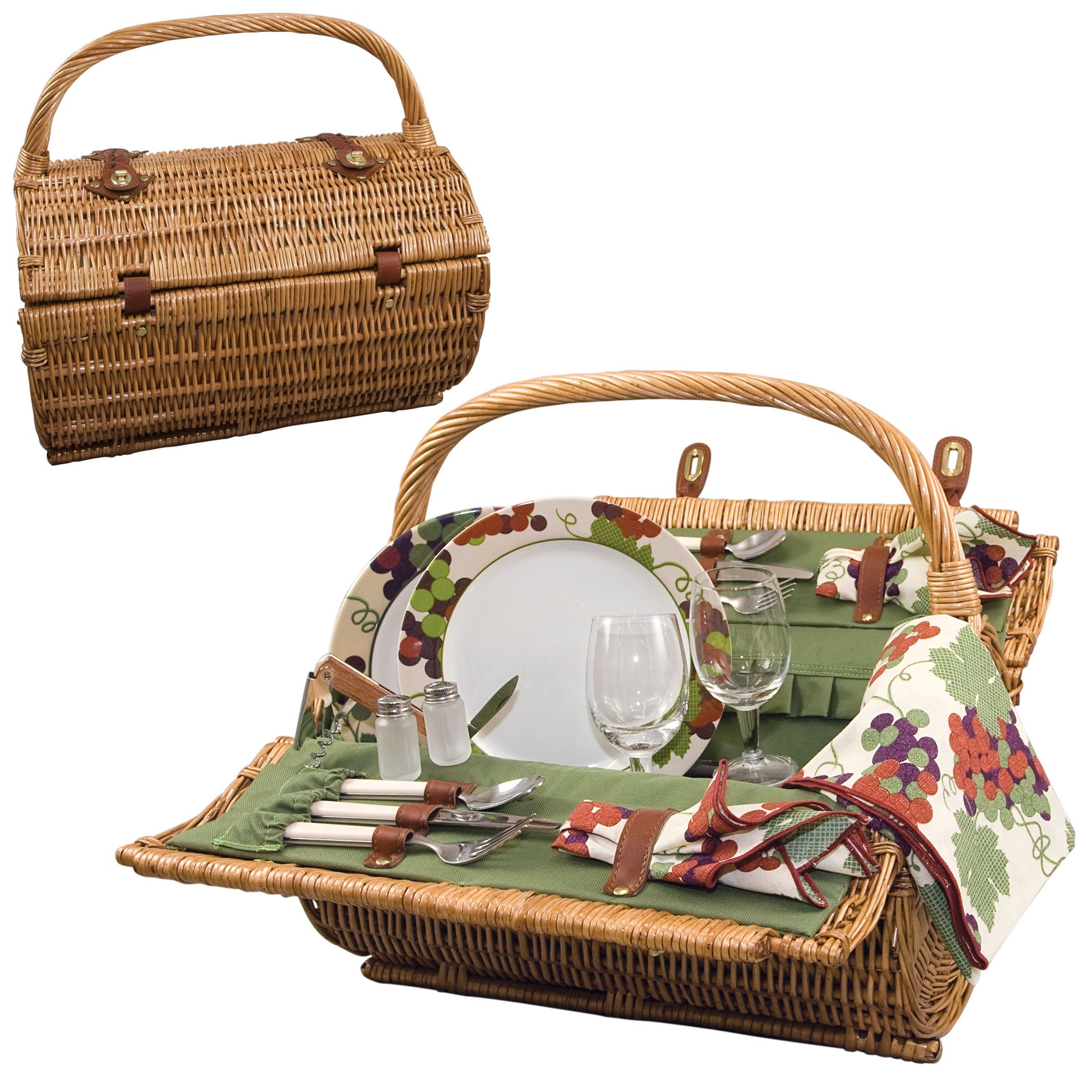 Picnic Time Barrel Picnic Basket with Service for Two, Pine Green by PICNIC TIME