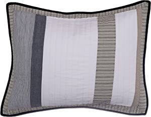 Nautica Tideway Collection 100% Cotton Quilted Accent Standard Sham, Envelope Closure, Pre-Washed for Added Softness, Easy Care Machine Washable, Tan/Grey
