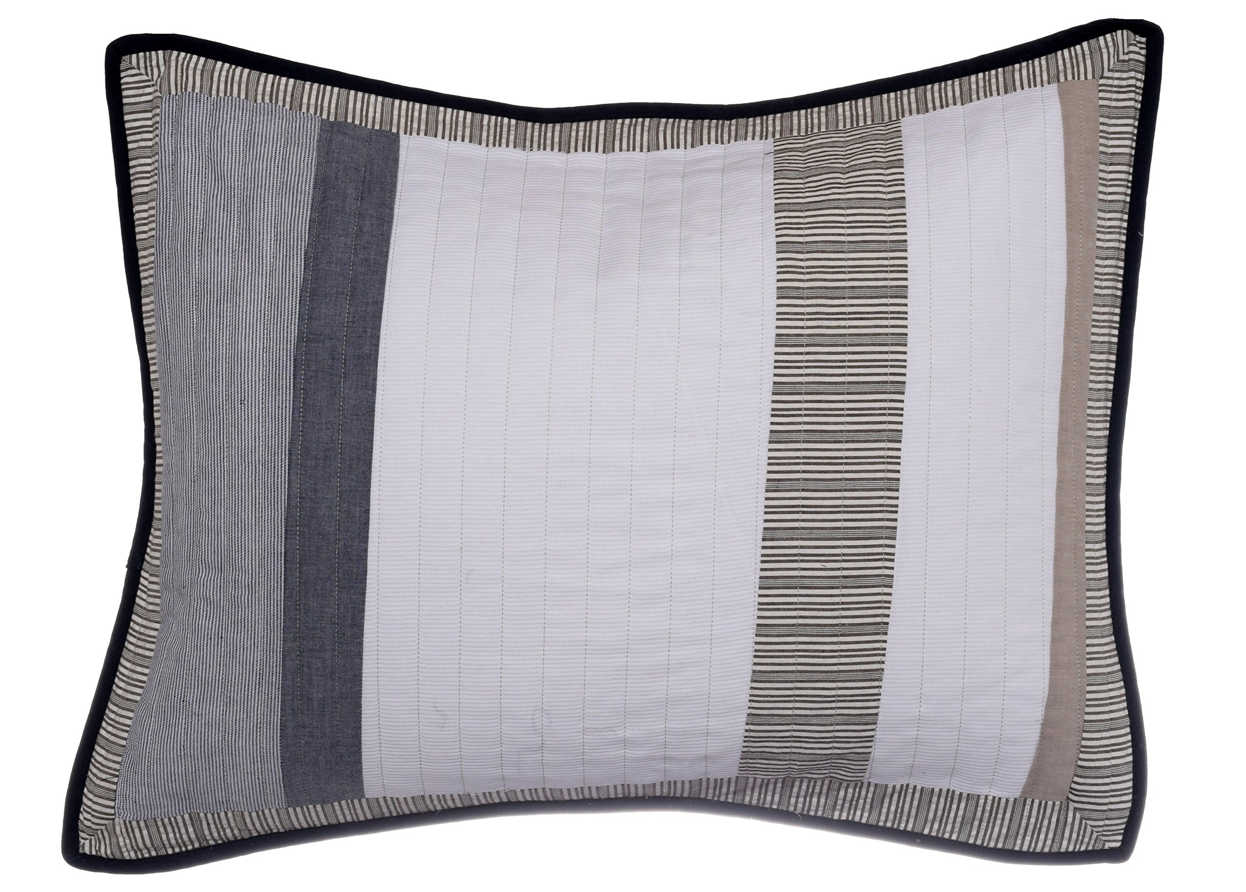 Nautica Tideway Cotton Quilted Sham, Standard, Tan/Grey