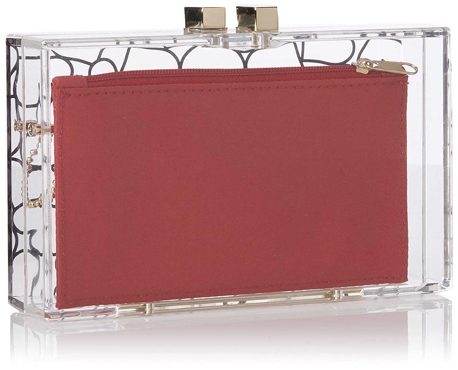6ec4b57ebf Amazon.com: LOVE Moschino Women's Clear Evening Clutch Clear/Red One Size:  Shoes