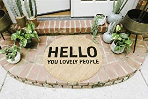 Bloomingville Round Coir Doormat, Hello You Lovely People, Natural