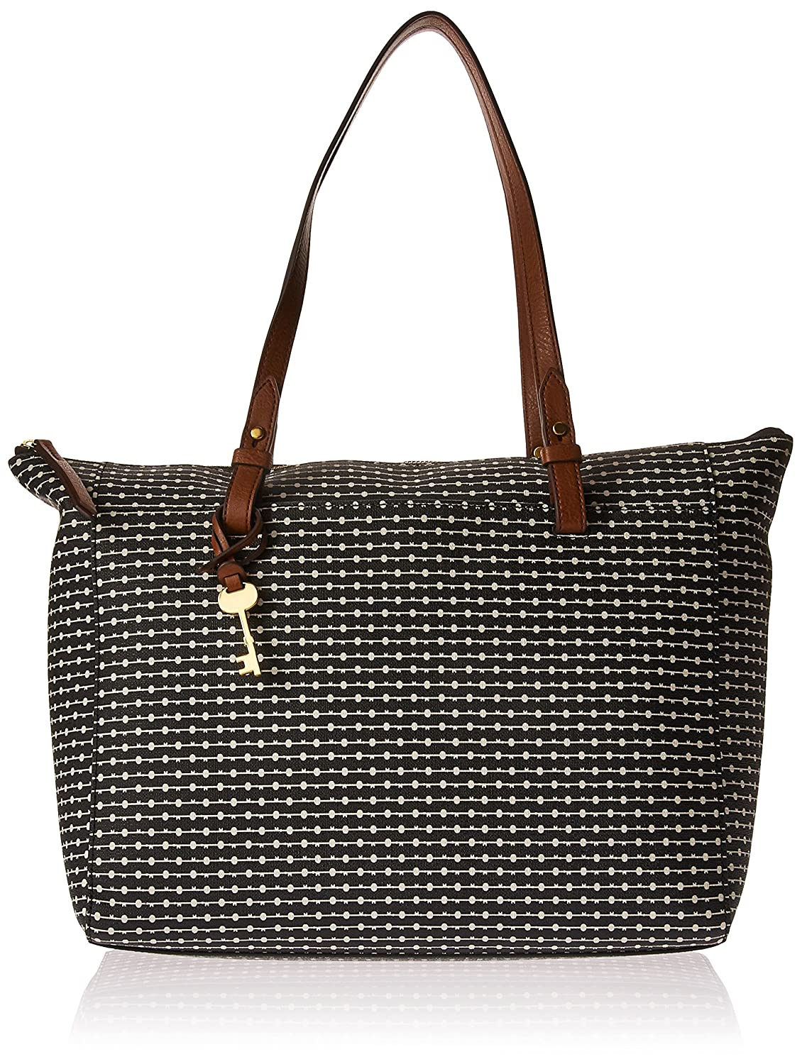 72d8c7509 Amazon.com: Fossil Rachel TOP Zip Tote Bag, Black Stripe: Clothing