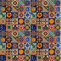 100 Hand Painted Talavera Mexican Tiles 5.1cm x 5.1cm Spanish Mediterranean Decor