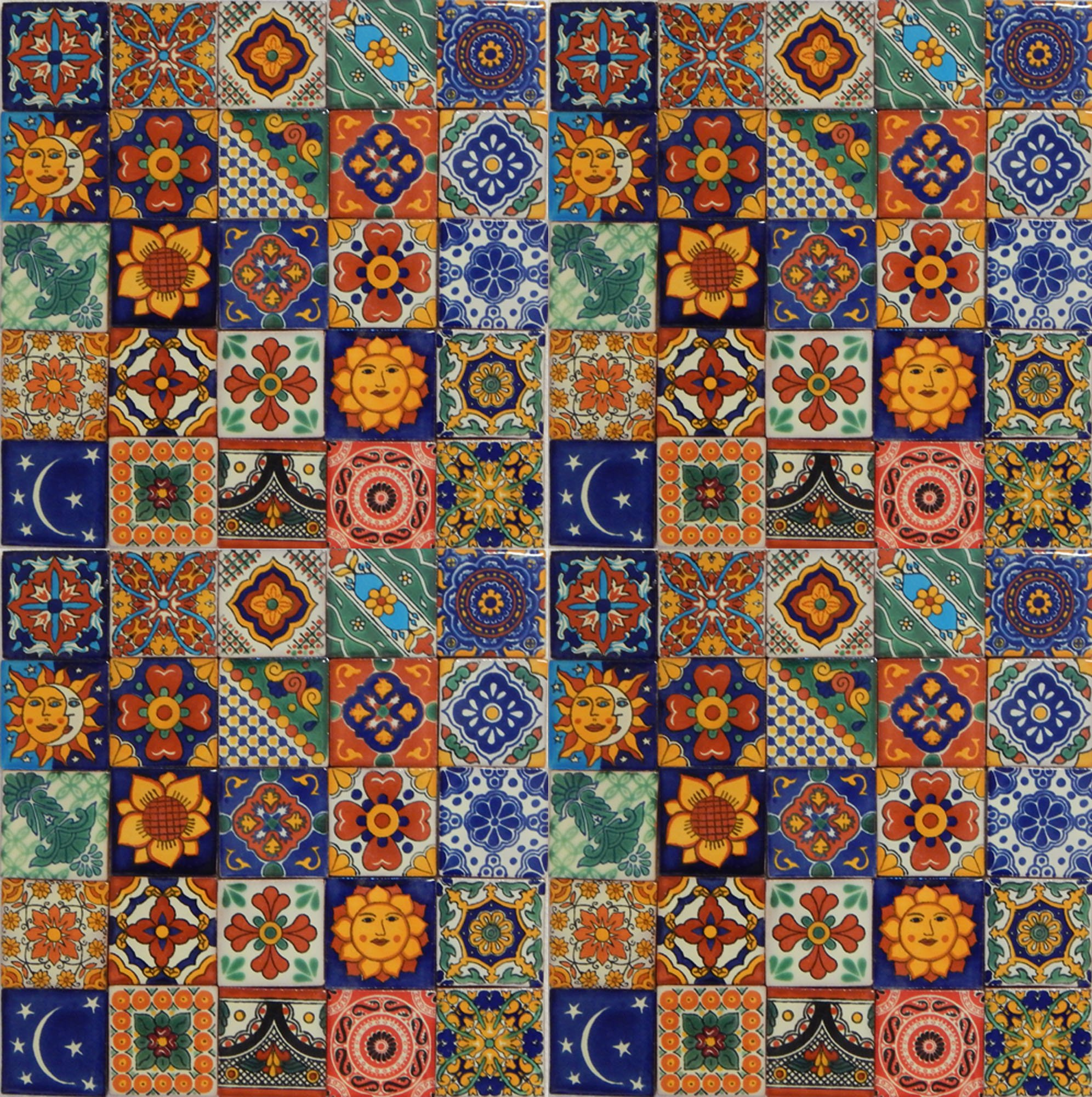 Color y Tradicion 100 Hand Painted Talavera Mexican Tiles 2''x2'' Spanish Mediterranean decor