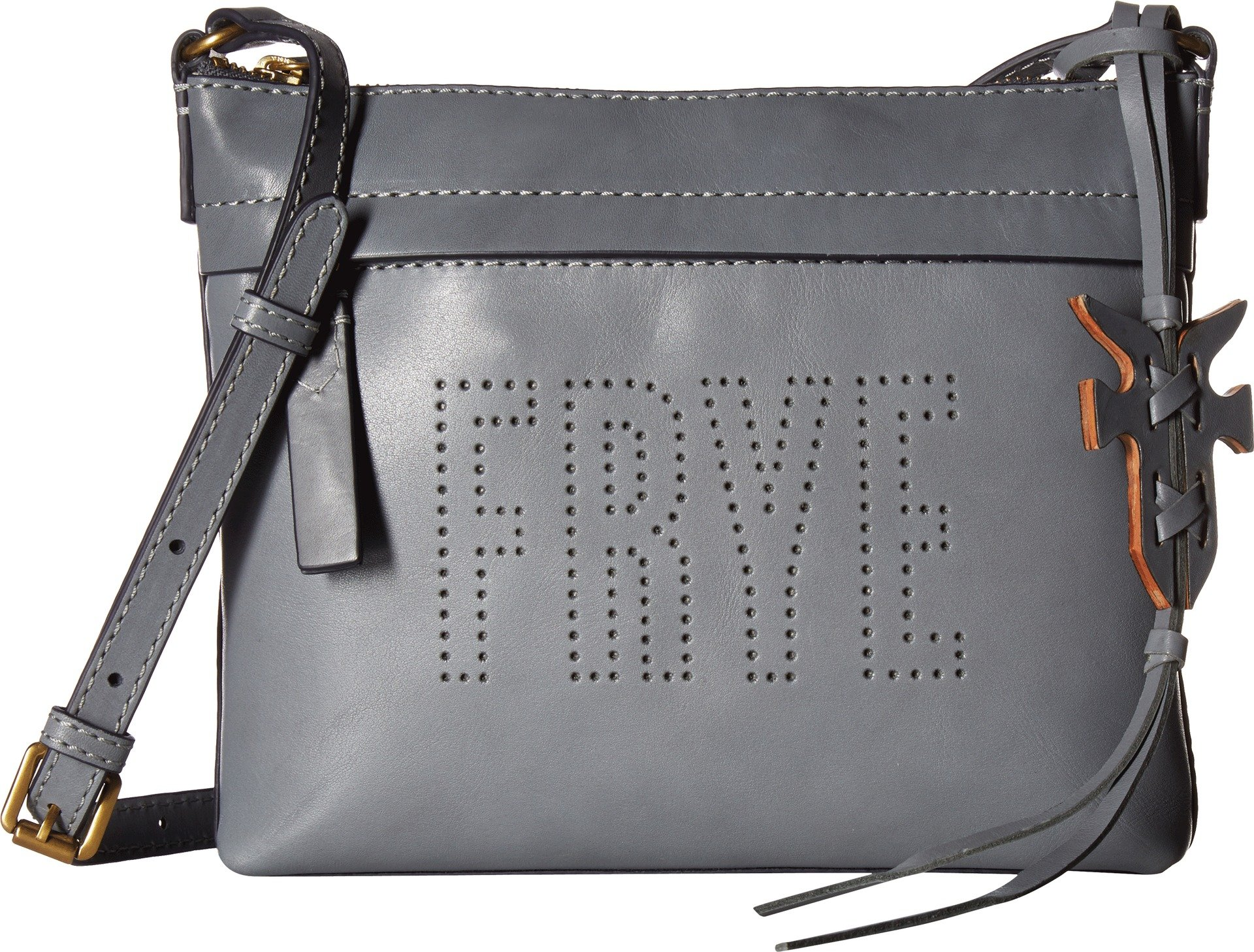 FRYE Carson Logo Perf Zip Crossbody Oiled Veg, Steel Grey