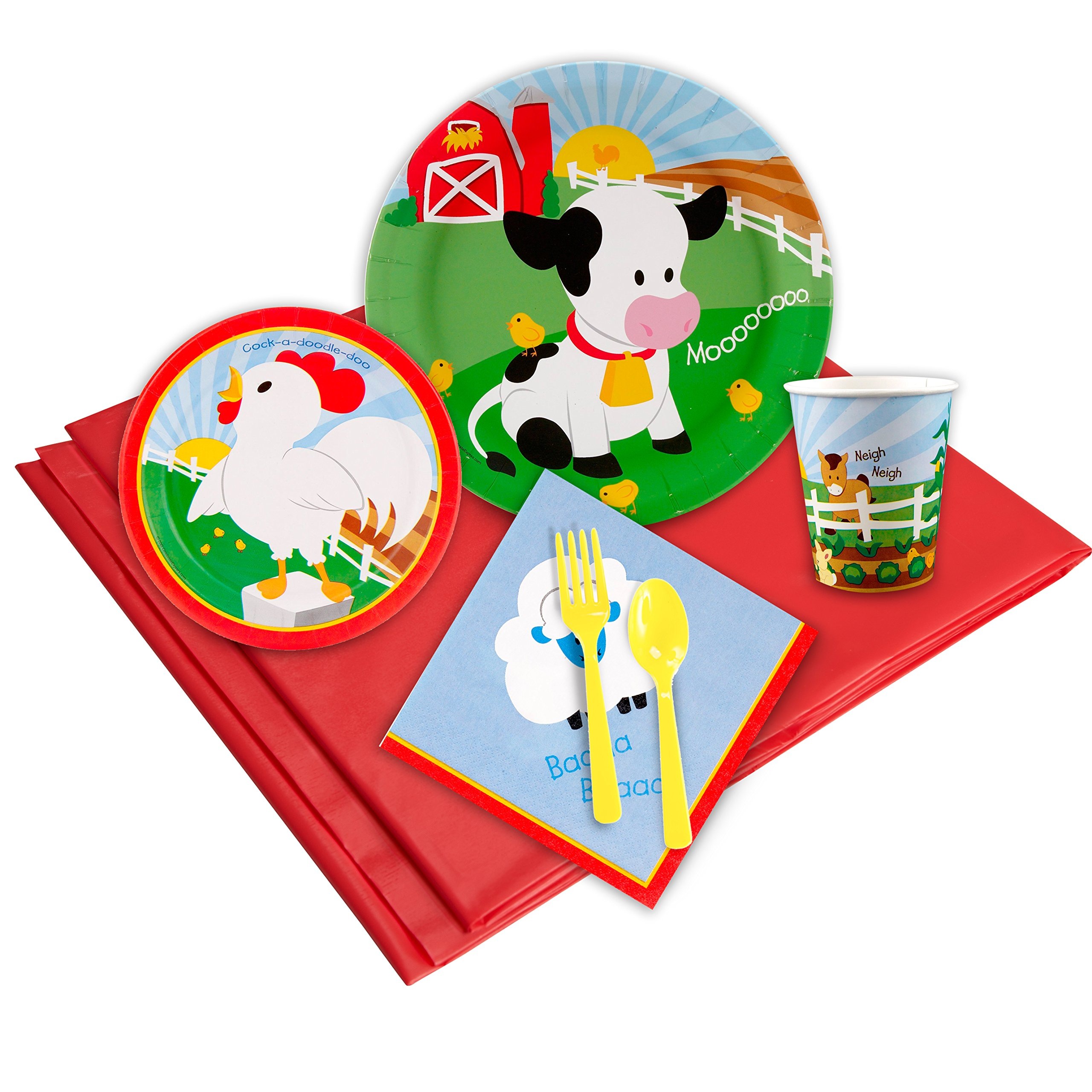 BirthdayExpress Farm Animal Party Supplies - Party Pack for 8