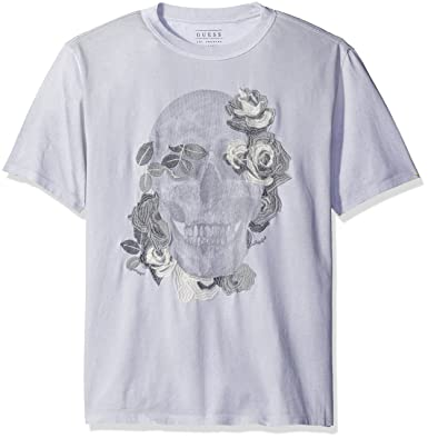 770aef55eeb8 GUESS Men's Reflective Skull T-Shirt, Divine Grey/Multi XL
