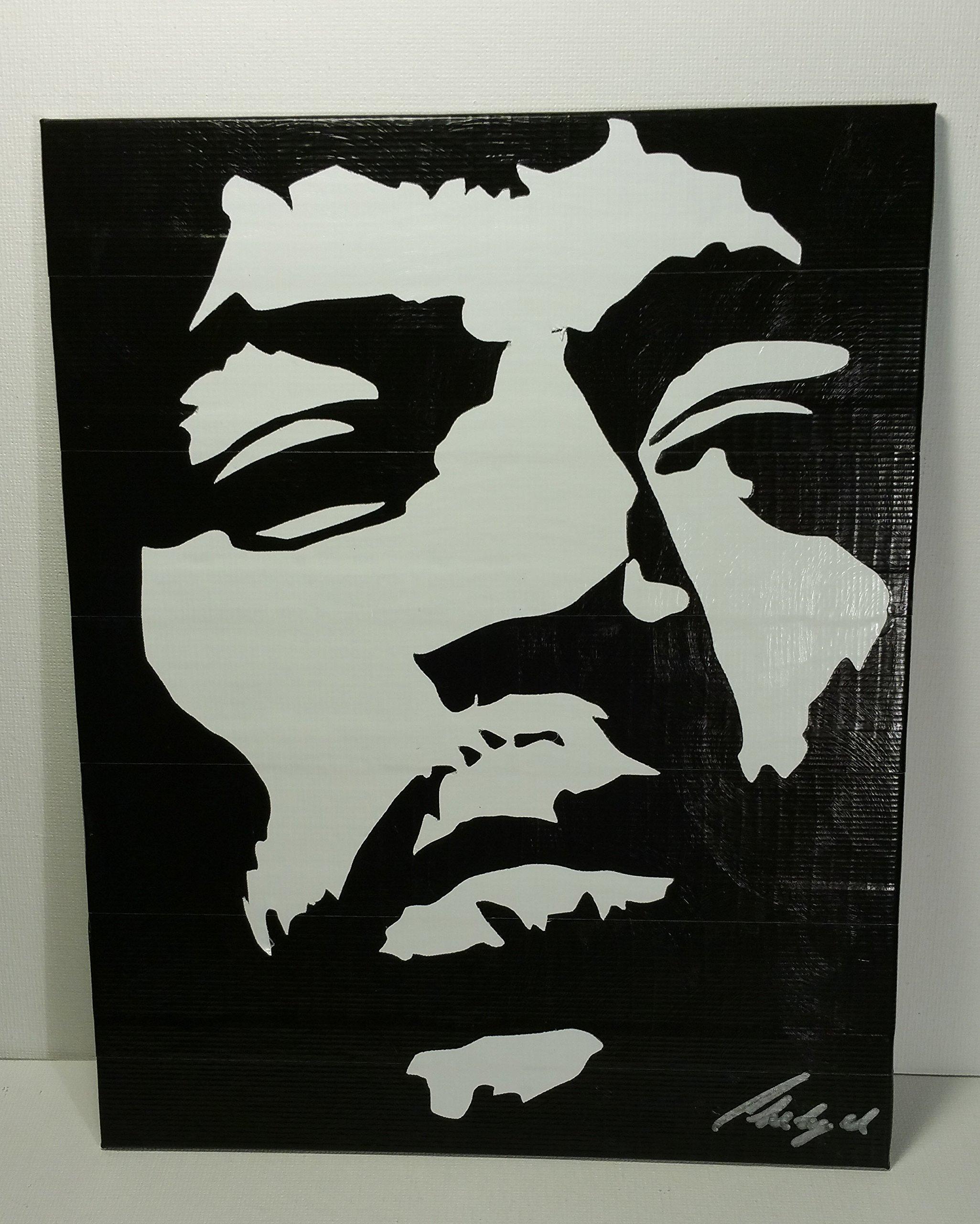 Duct Tape and Vinyl Art Piece of Jimi Hendrix