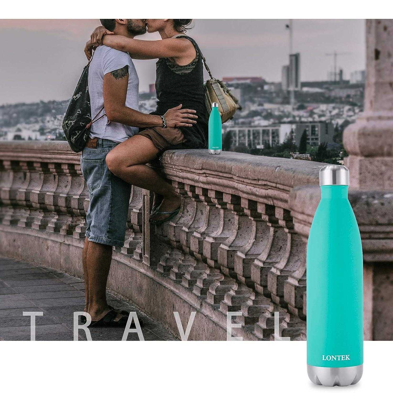 750 ml Botella de Agua de Doble Pared de Acero Inoxidable con Aislamiento al vac/ío y Botella de Agua Deportiva LONTEK