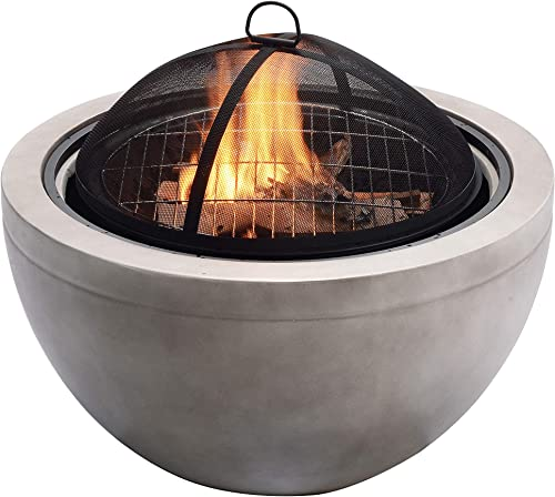 Peaktop HR30180AA Concrete Round Charcoal and Wood Burning Fire Pit Bonfire