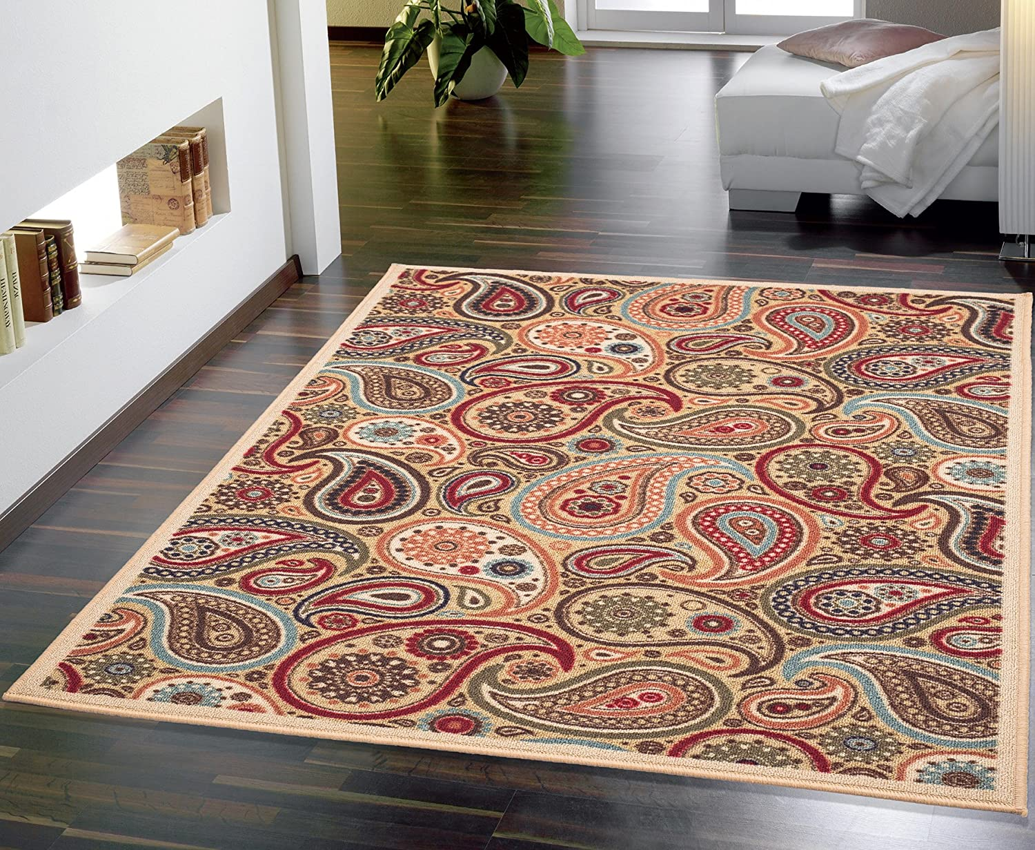 Cut to fit bathroom rug - Ottomanson Contemporary Paisley Design Modern Area Rug 8 2 W X 9 10 L Biege
