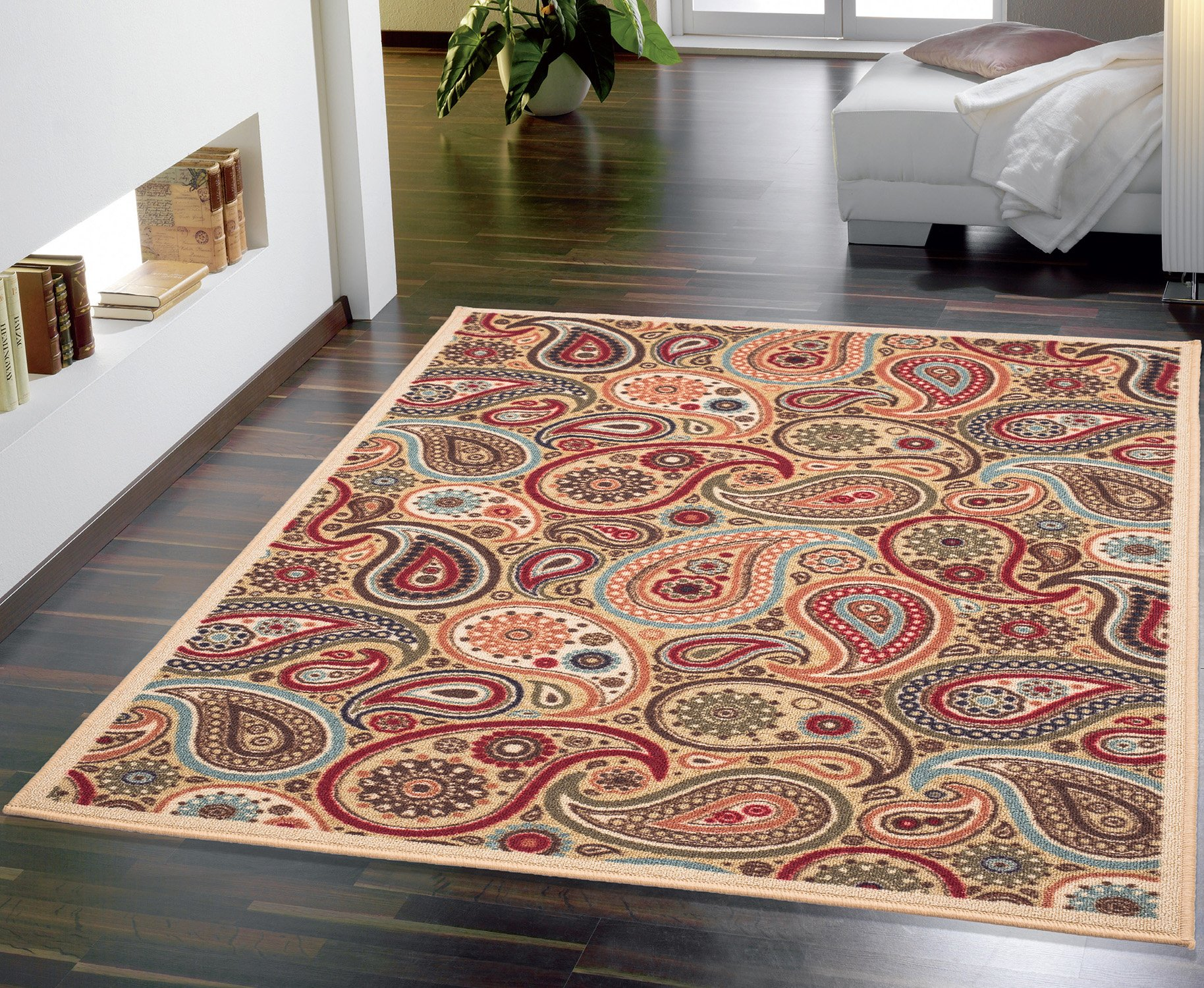 Ottomanson Ottohome Collection Contemporary Paisley Design Non-Skid (Non-Slip) Rubber Backing Modern Area Rug, 8'2 X 9'10, Beige