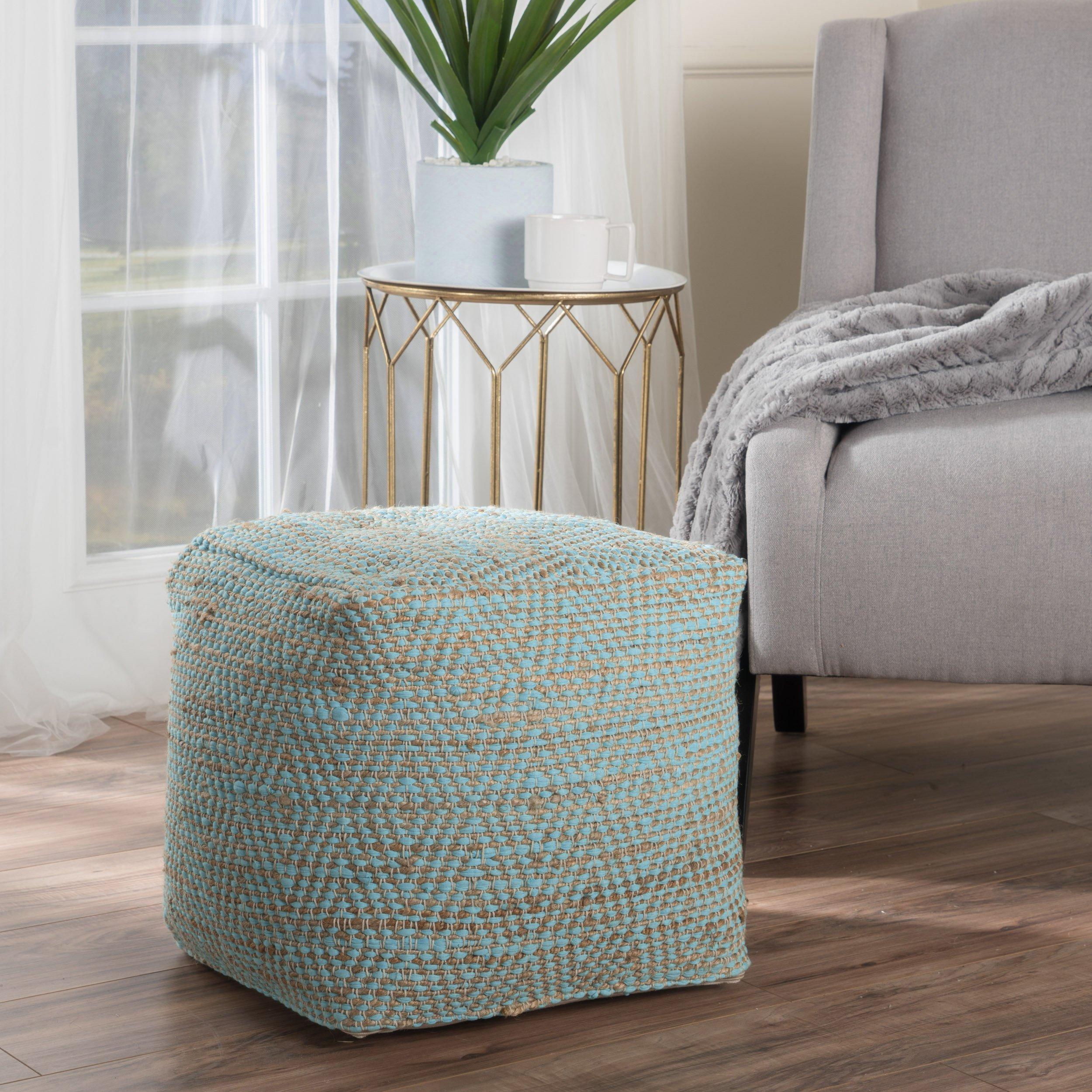 Ada Hand Woven Aqua Fabric Pouf by GDF Studio