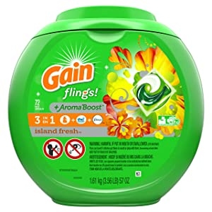 Gain Flings! Laundry Detergent Pacs, Island Fresh, 72 Count