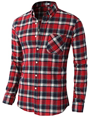 H2H Mens Casual Slim Fit Thermal Button-down Check Patterned ...