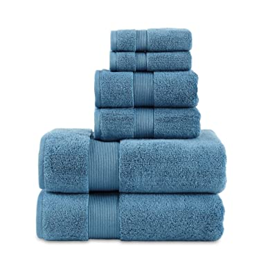 """700 GSM 6 Piece Towels Set, 100% Cotton, Zero Twist, Premium Hotel & Spa Quality, Highly Absorbent, 2 Bath Towels 30"""" x 54"""", 2 Hand Towel 16"""" x 28"""" and 2 Wash Cloth 12"""" x 12"""". Teal Color"""