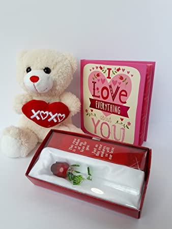 Amazon Com Valentines Day Gift Set For Her A Teddy Bear A Forever