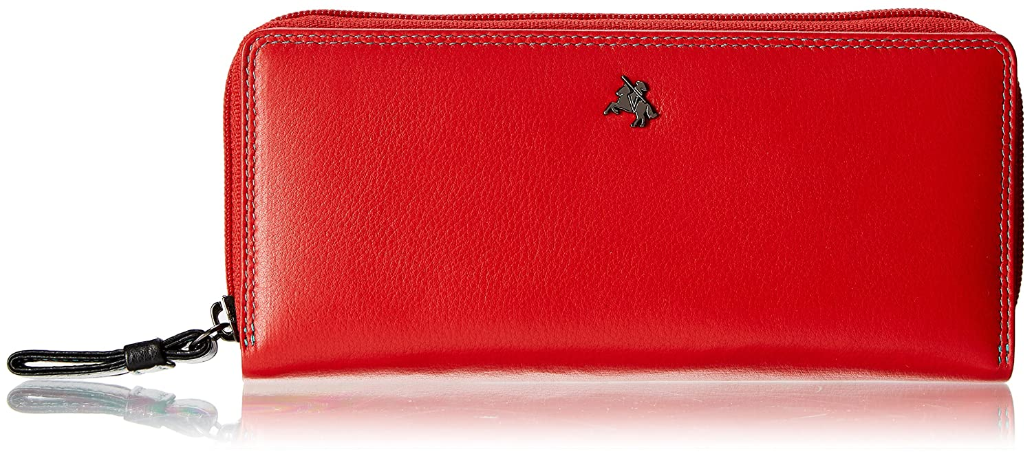 Visconti Spectrum 35 Multi color Ladies Soft Leather Checkbook Wallet And Purse 7.5  x 3.5  x 1  (Red Multi)