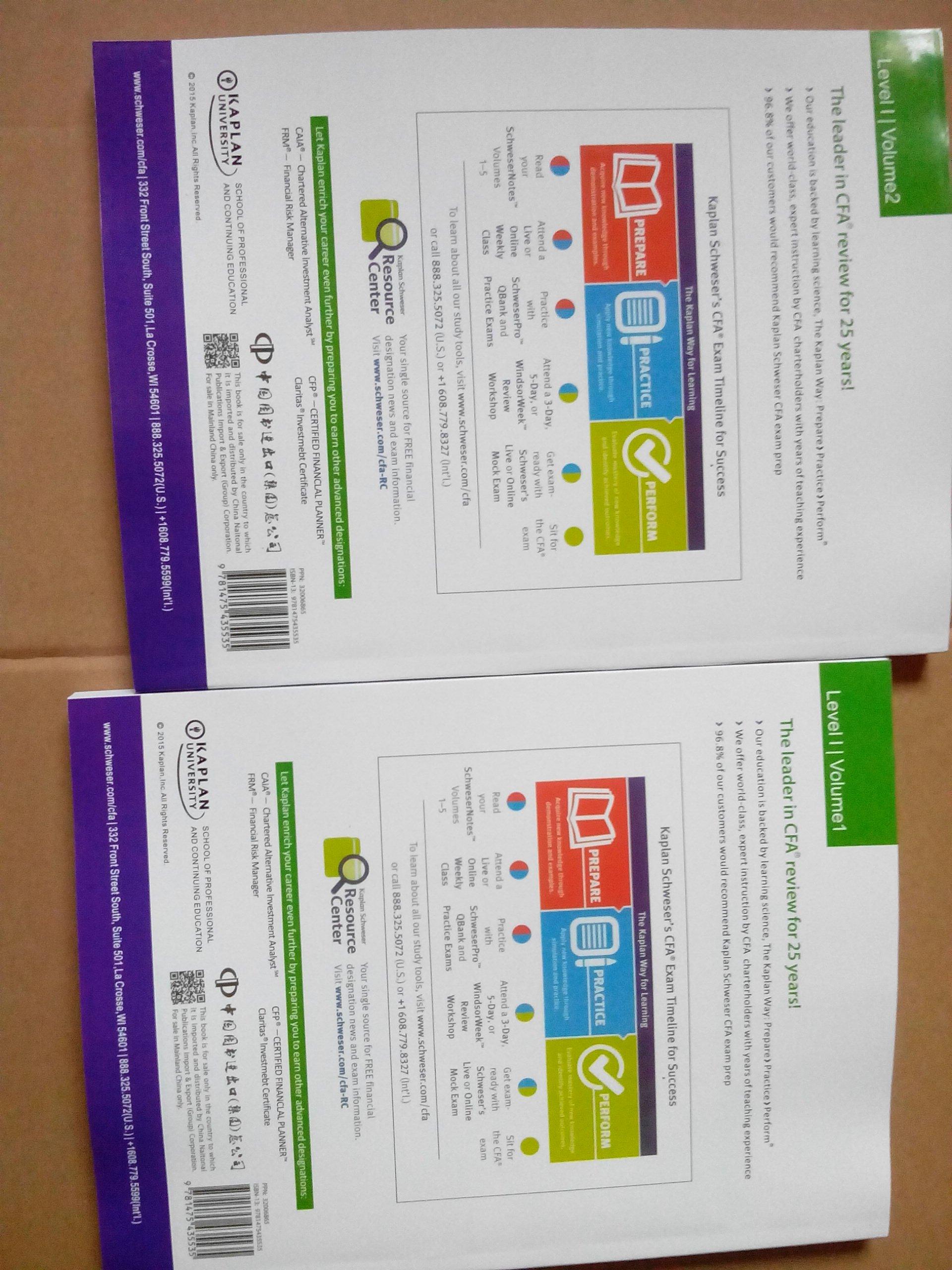 2016 Kaplan Schweser Cfa Level 1 Practice Exams Vol 1 And Vol 2