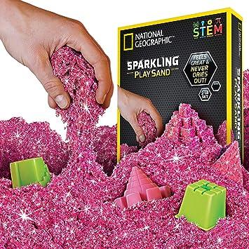 National Geographic Sparkling Play Arena – 2 libras de arena brillante con moldes de castillo y