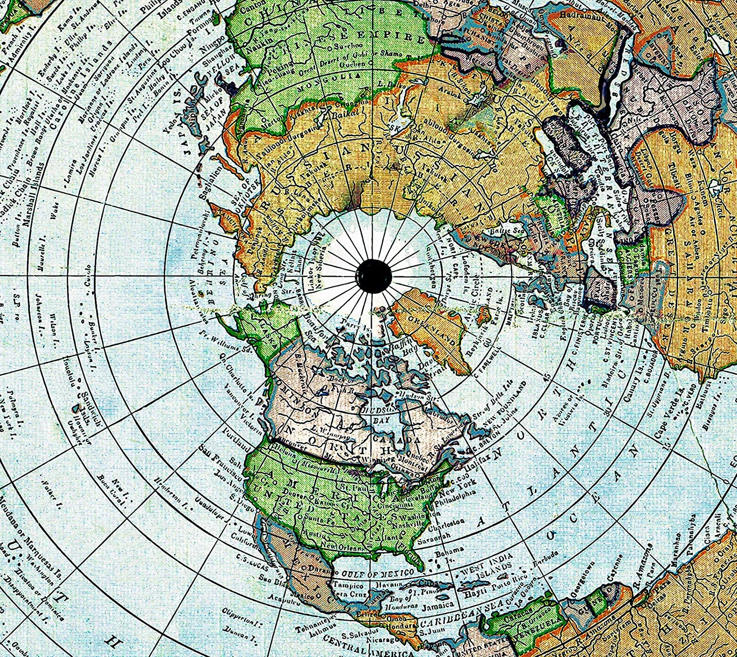 Map Gleason 1892 World Time Calculator Flat Earth Large Wall Art Poster Print Thick Paper 24X24 inch Carte Monde Mur Impression daffiches