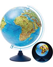 Exerz 25cm Relief Illuminated Globe with Cable Free LED Lighting/ 2 in 1/ Day and Night - Physical/Political Dual Mapping - Unique Embossment Design, Arty, Educational and Fun, For School, Children