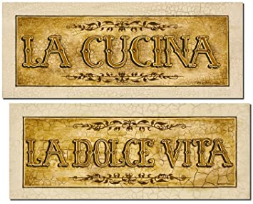 beautiful vintage italian la cucina and la dolce vita signs two