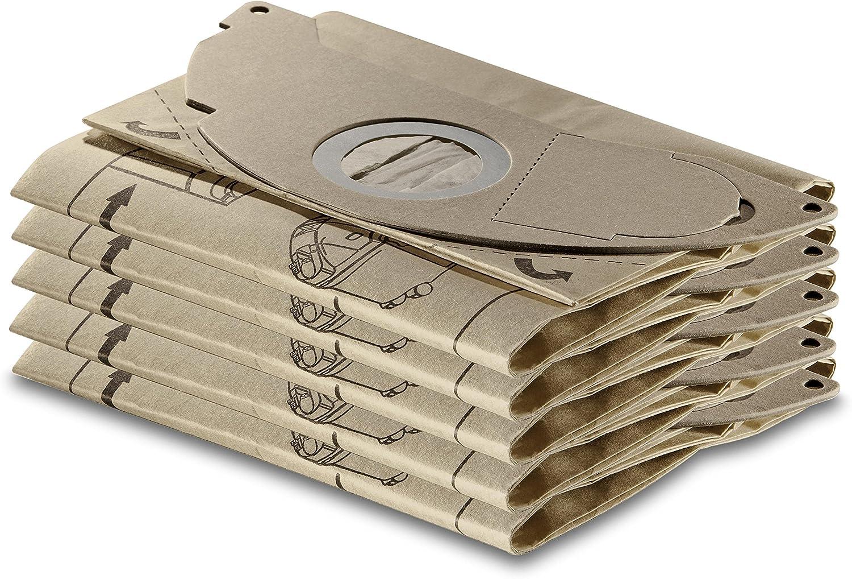 Sachet filtre papier x5 pour aspirateurs eau et poussieres compatibible avec: de A2000 jusqua A2099 et WD2.000 jusqua WD2.399 ref 6.904-322.0 Karcher