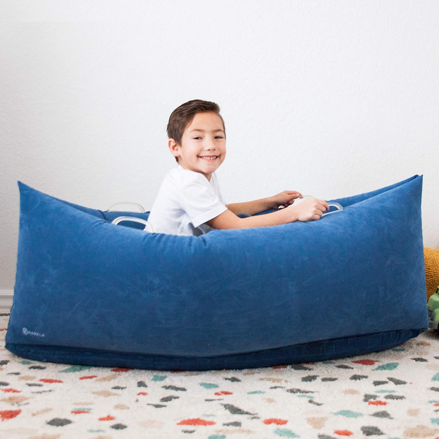 Harkla Hug (48 inches) - Inflatable Sensory Peapod for Children with Sensory Needs - Therapeutic Compression Sensory Chair for Ages 2 to 6 - Air Pump and Repair Kit Included