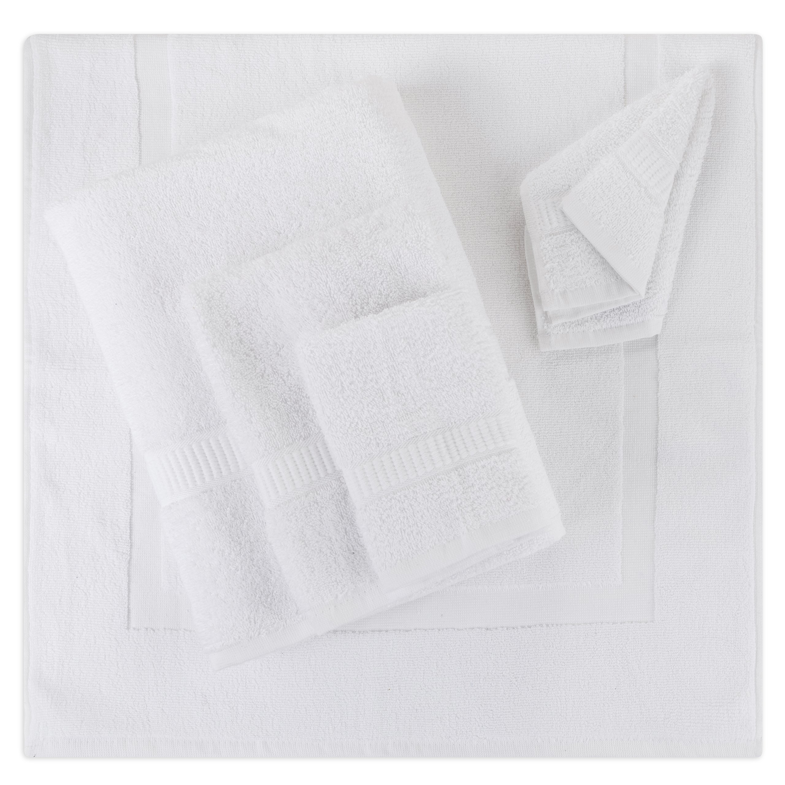 5- Piece Bath Mat Set | Matching Bathroom Floor Mat with Towels | All-in-one Shower Collection | Spa Gift Package |1 Bath Mat, 1 Bath Towel, 1 Hand Towel, 2 Wash Cloths | 100% Organic Cotton (White)