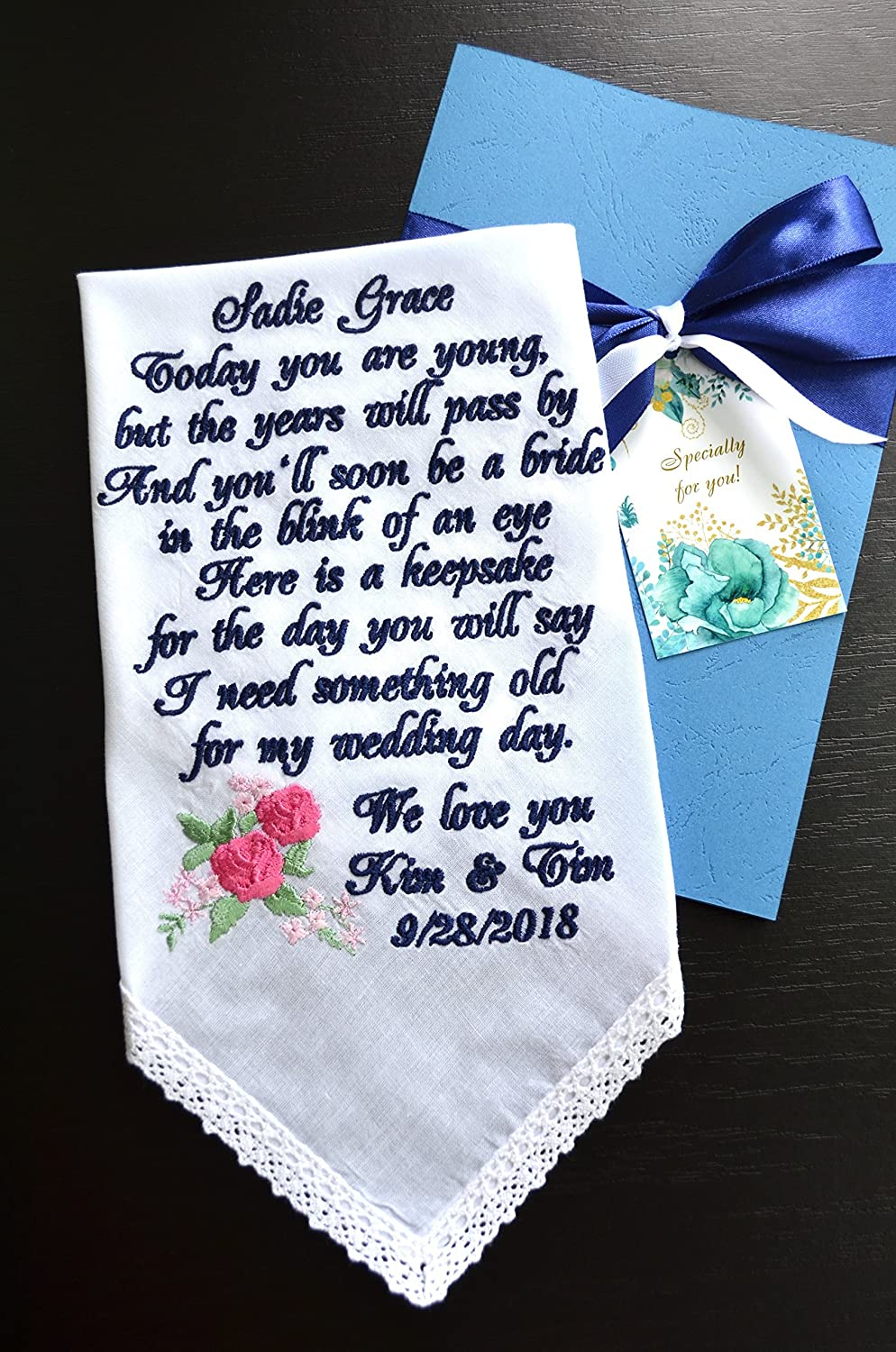 e15be0f48 Flower girl gift with personalized embroidered custom message something old  for your wedding day Bride gift to Flower girl wedding gift wedding  handkerchief ...