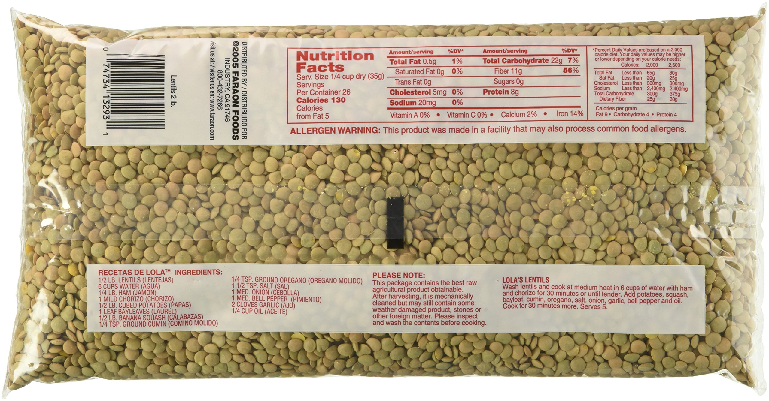 FARAON Lentils, 2 Pound (Pack of 12)