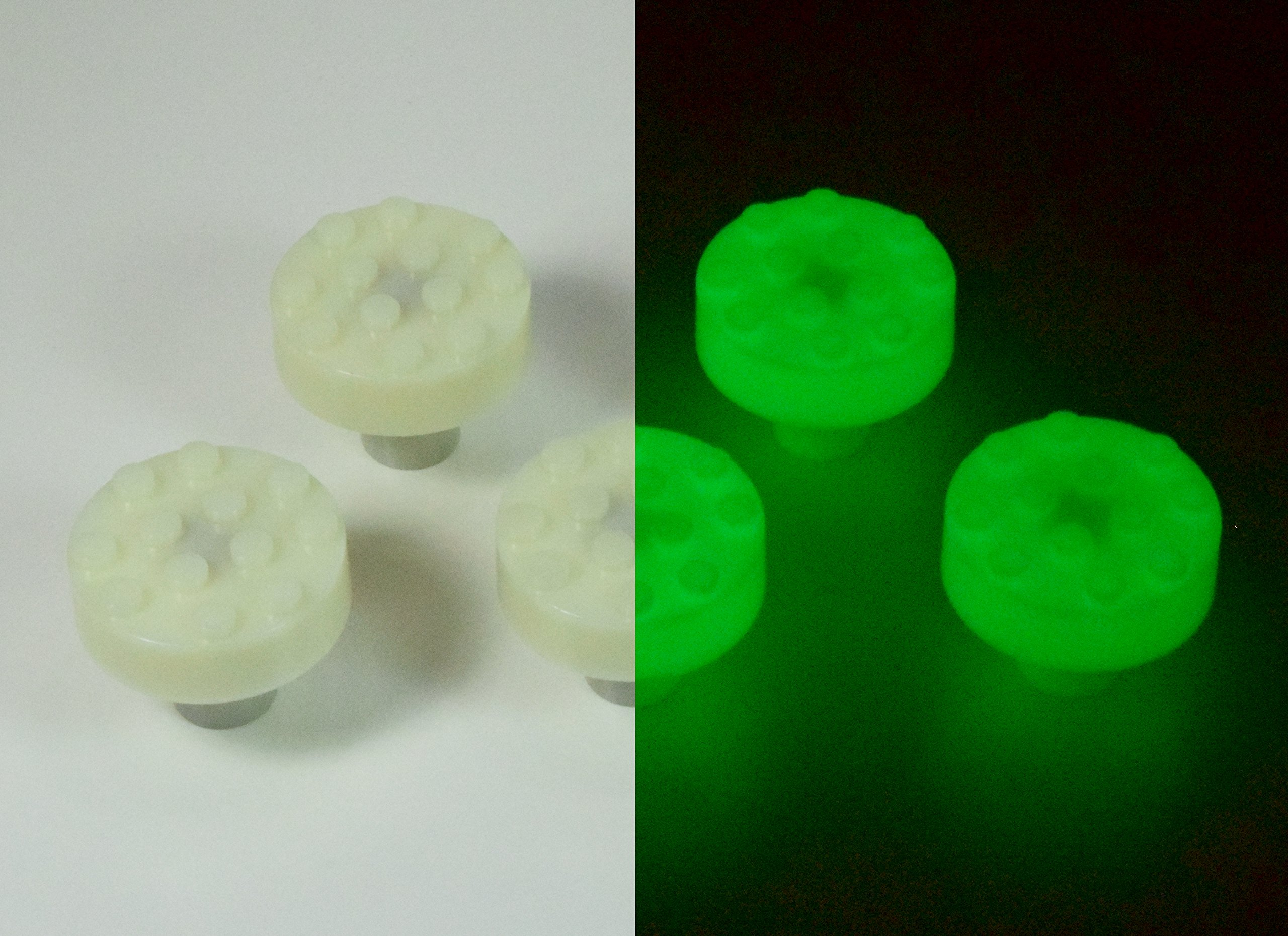Set of 5 Build-On Brick Knobs (Glow-In-The-Dark)