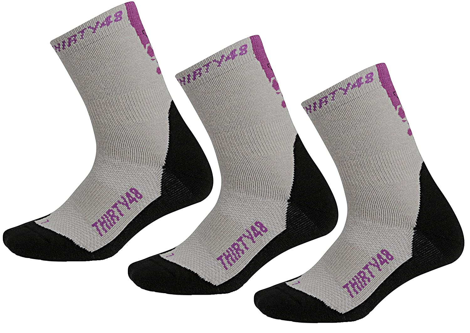 Thirty48 HK4PRG-3PK Durable Socks for Hiking, Mountain Climbing, Winter, Outdoor, Boots, Camping, Travel Purple/Gray Extra Large