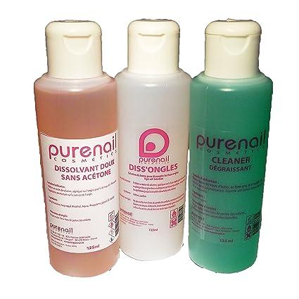 Purenail - Lote de 3 disolventes para uñas y uñas postizas (1 limpiador de 125