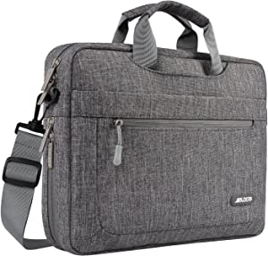 MOSISO Laptop Shoulder Bag Compatible with 17-17.3 inch MacBook/Dell/HP/Lenovo/Acer/Asus/Samsung/Sony, Polyester Messenger Carrying Briefcase Sleeve with Adjustable Depth at Bottom, Gray